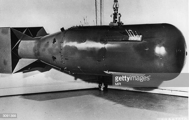 Postwar replica of the 'Little Boy' nuclear weapon, which was dropped on Hiroshima, Japan, in August 1945. U.S. Government Photo, circa 1946.