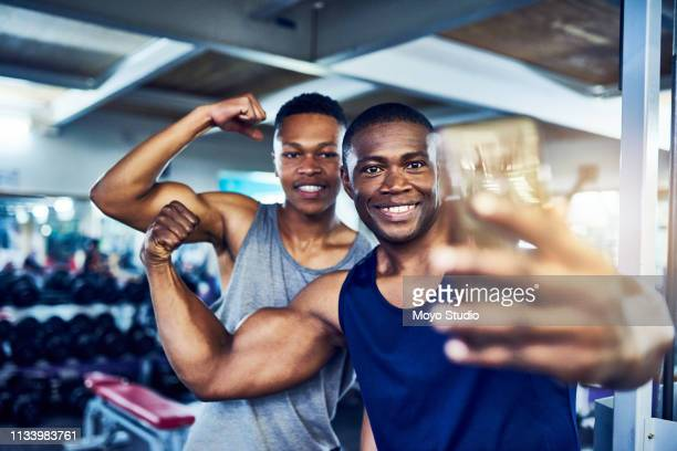 post-workout selfies - male friendship stock pictures, royalty-free photos & images