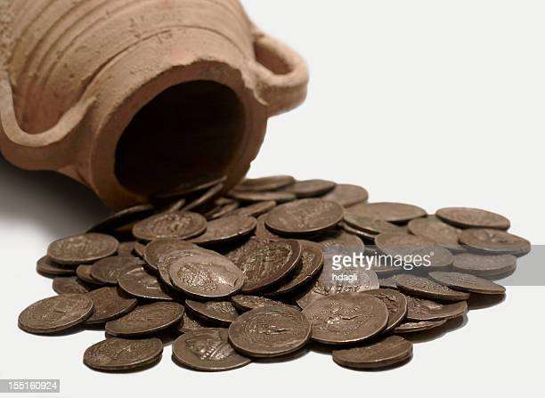a pot and ancient coins from antioch museum - ancient stock pictures, royalty-free photos & images