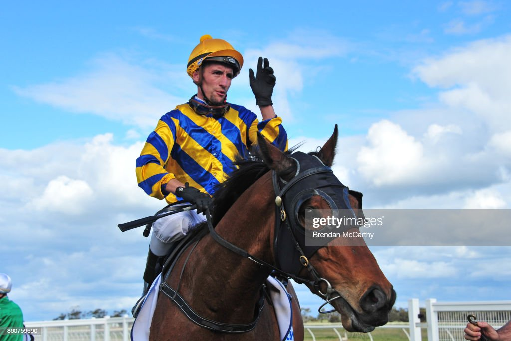 Pot Black ridden by Jarrod Todd returns to the mounting yard after winning the Pea Co BM64 Handicap at Donald Racecourse on October 13, 2017 in Donald, Australia.
