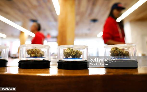 Pot displayed at MedMen on the first day of recreational marijuana sales January 2 2018 in West Hollywood California