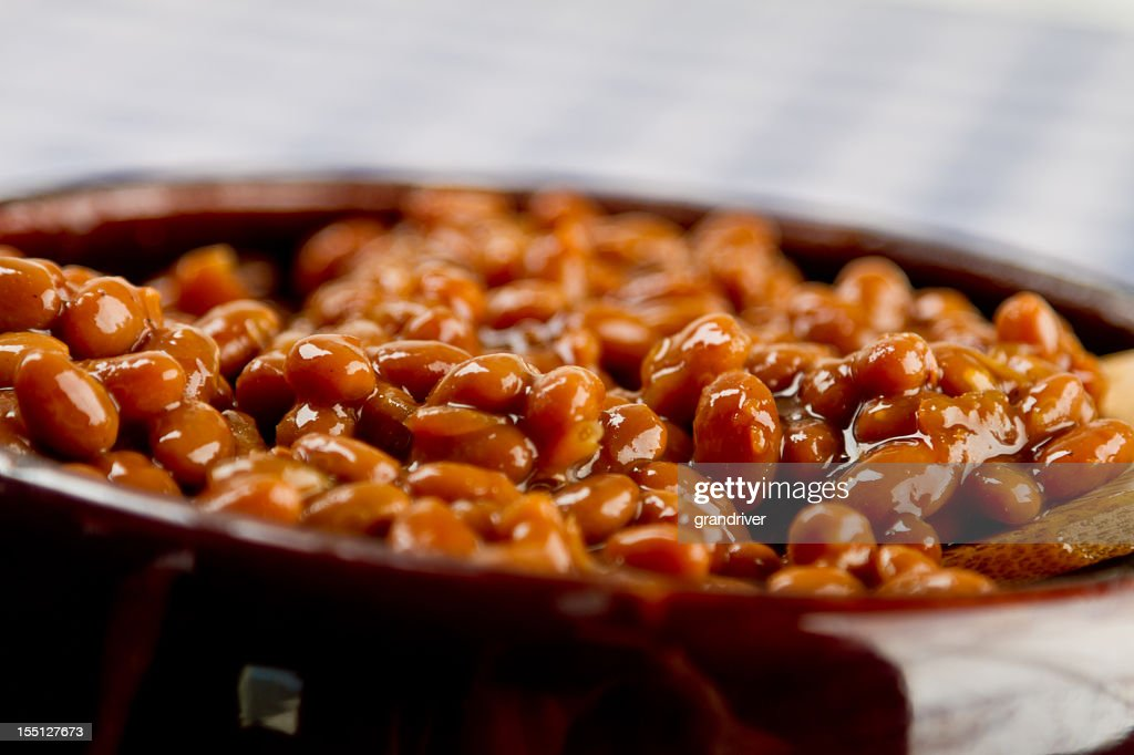 Pot of Baked Beans on a Blue Gingham : Stock Photo