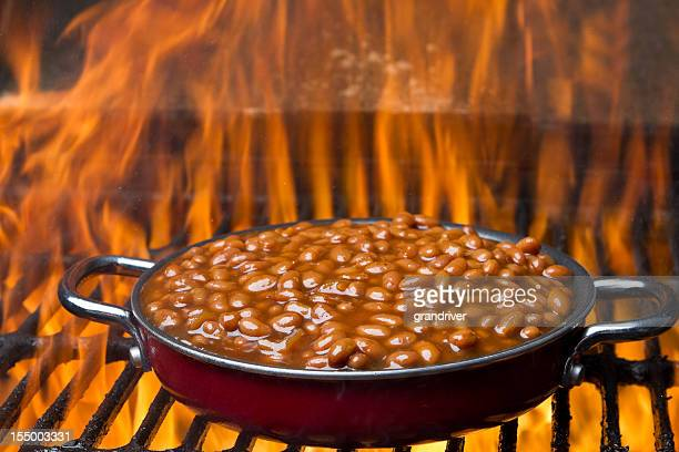 Pot of Baked Beans on a Flaming Grill
