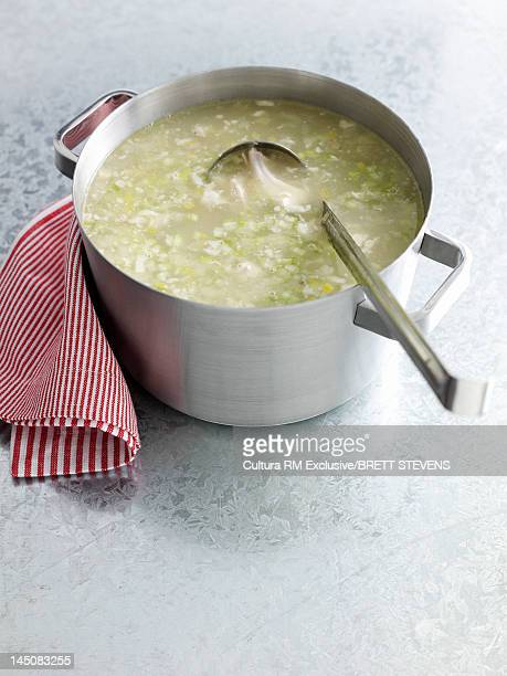 Pot of chicken soup