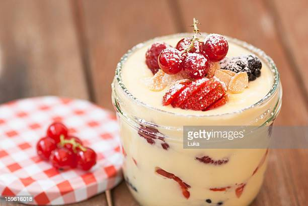 Pot of custard with fruit