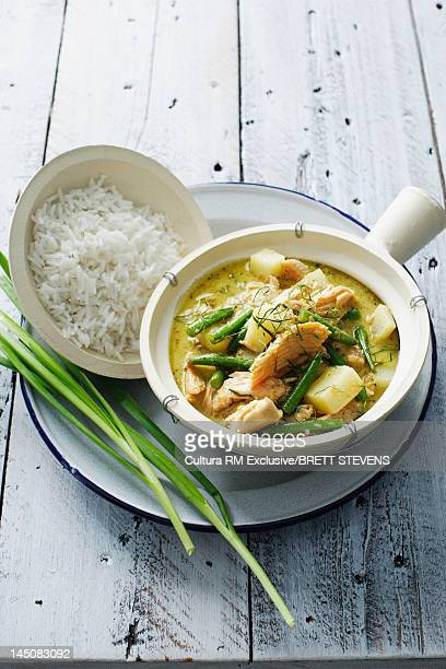 Pot of fish soup with rice