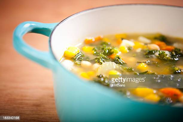 Pot of healthy vegetable soup