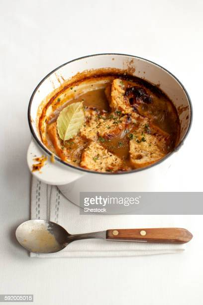 Pot of stewed meat with spoon