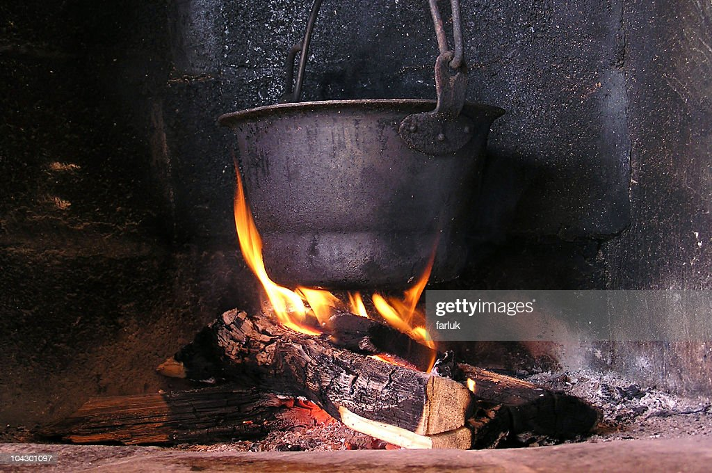 Pot on a fire : Stock Photo