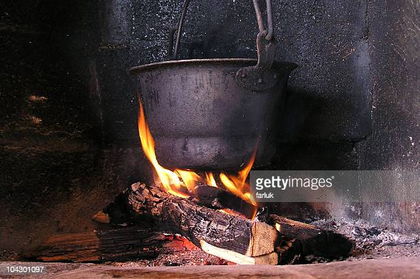 pot on a fire - ancient stock pictures, royalty-free photos & images
