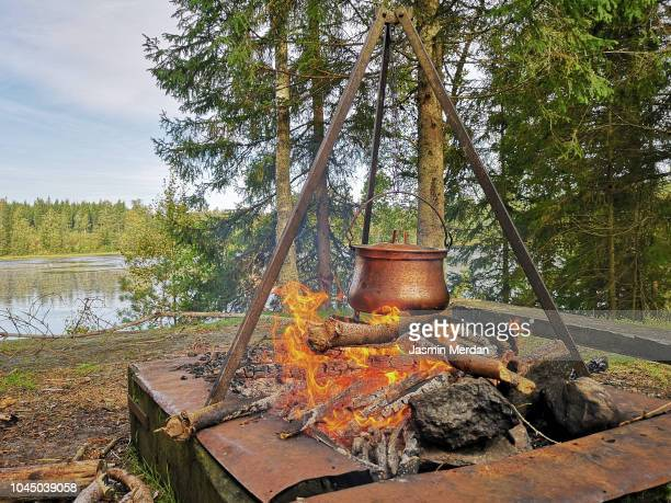 Pot on fire in nature