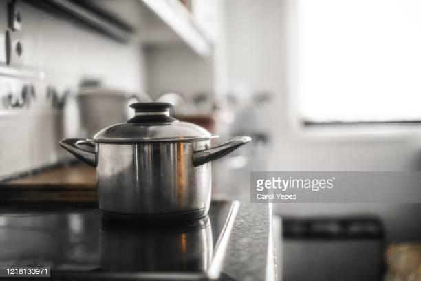 pot on the kitchen - 片手鍋 ストックフォトと画像
