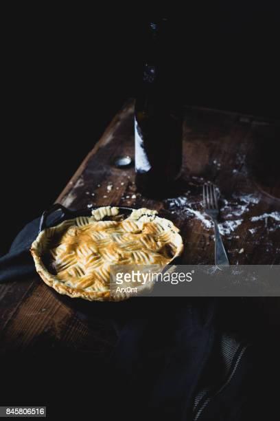 Pot pie on wooden table