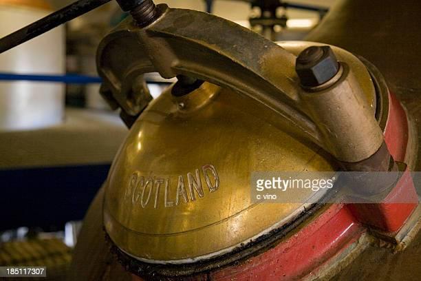 Pot still lid in scottish distillery