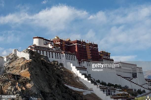 potala palace, in tibet, china. - lhasa stockfoto's en -beelden