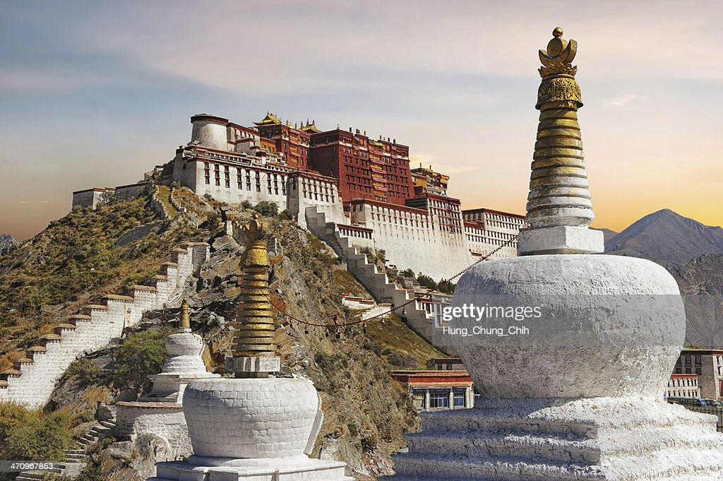 Potala Palace in Tibet during sunset : Stock Photo