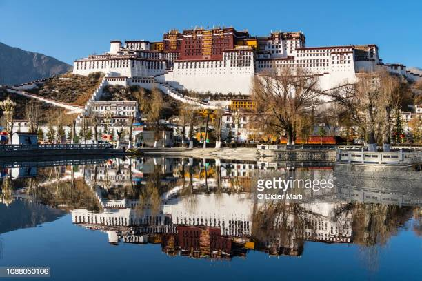 potala palace on a sunny winter in lhasa in tibet main city - potala paleis stockfoto's en -beelden