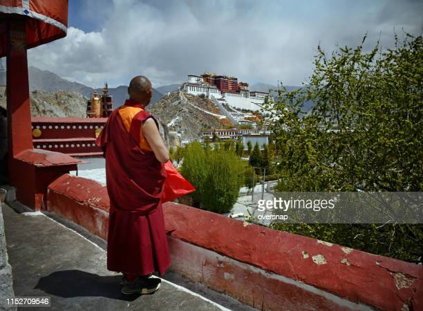 potala palace pilgrims - monk stock pictures, royalty-free photos & images