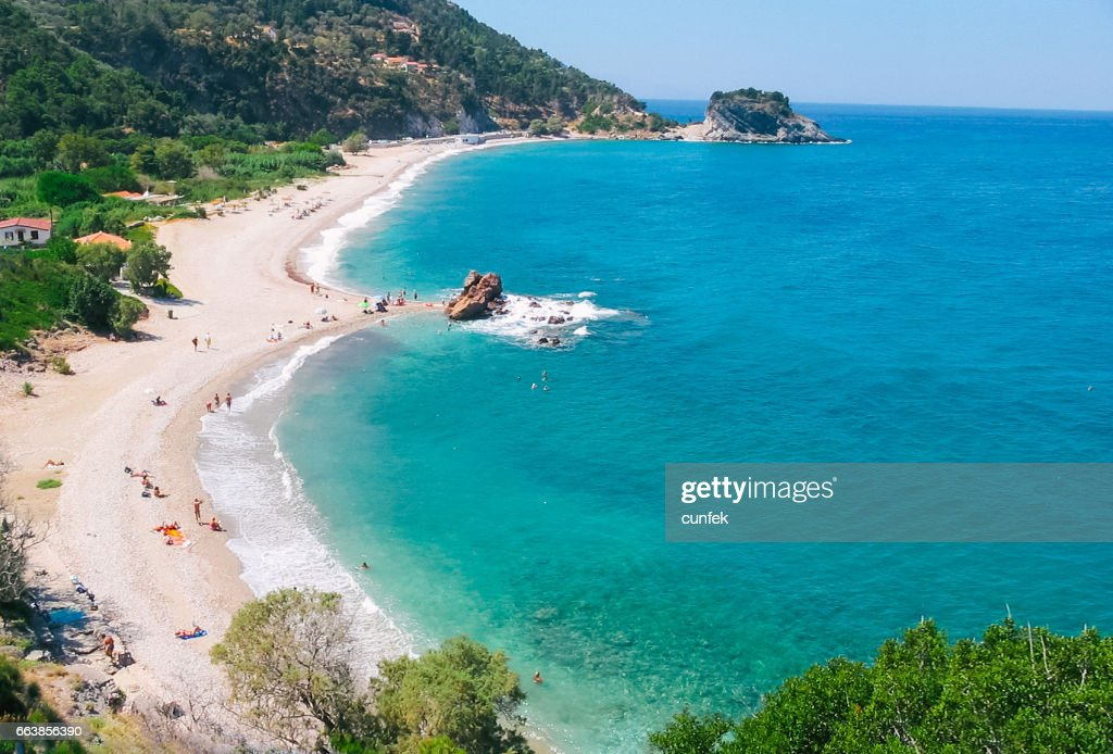 Potami Beach on Samos : Stock Photo