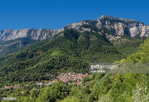 potamia village and mountain top,thassos, greece - thasos stock photos and pictures