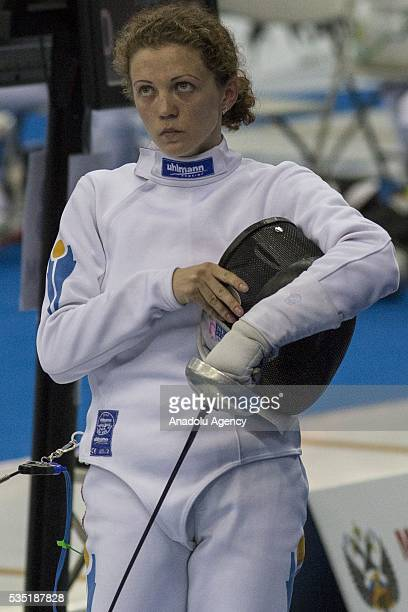 Potapenko Elena from Kazakhstan competes in the fencing at the mixed relay World Championship in modern pentathlon in Olympic Sports Complex in...