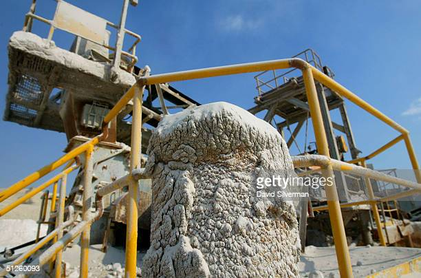 Potash covers machinery at the Dead Sea Works potash recovery plant on the shores of the Dead Sea September 2 2004 in Sodom southern Israel The...