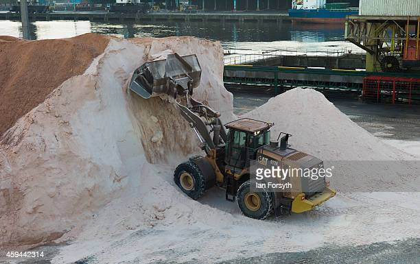 Potash is prepared prior to loading onto a container ship at the potash facility at Tees Docks on November 20 2014 in Tees Docks United Kingdom...