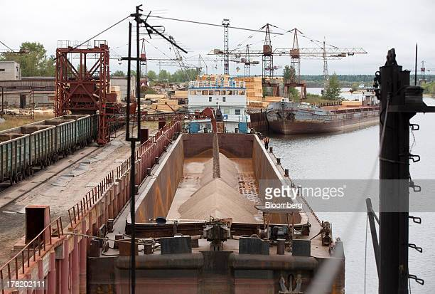 Potassium chloride also known as potash falls from a funnel into the hold of a cargo vessel during loading operations at the river port operated by...
