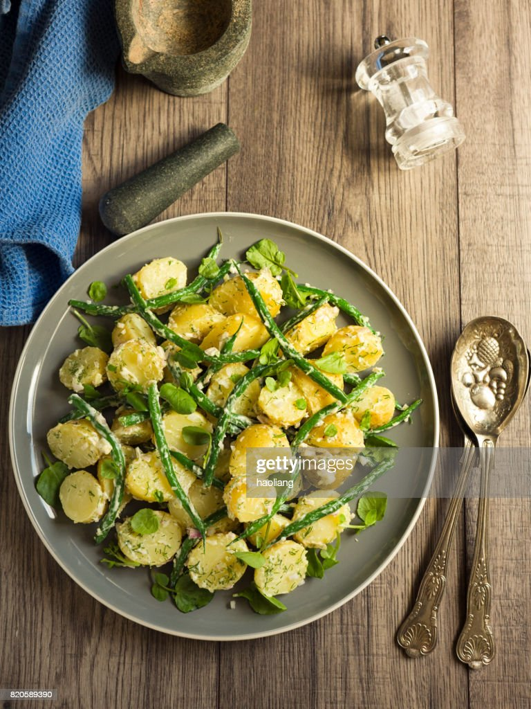 potato and green beans salad : Stock Photo