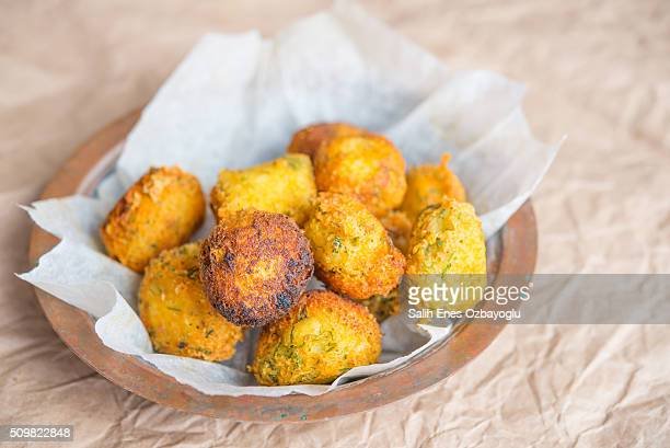 potato balls - balls deep stock photos and pictures