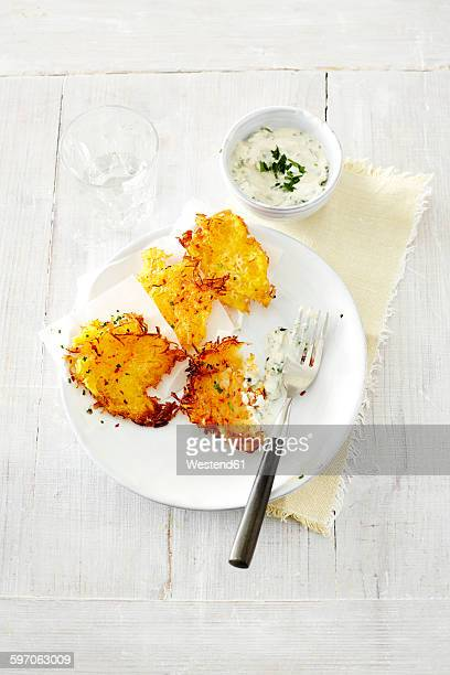Potato carrot rosti with cream cheese dip
