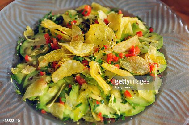 A potato chips dish for blogger food expert Alli Guleria to degustate brought by Daniel Boulud is seen during the DC Central Kitchen's Capital Food...