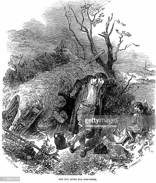 Potato Famine Irish peasant family unable to pay rent because of failure of the potato crop due to Potato Blight finding shelter in a hedgerow the...
