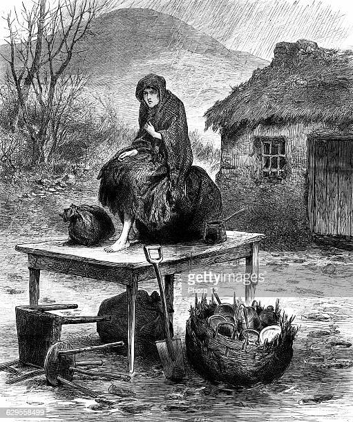 Irish peasant girl guarding the family's last few  possessions after eviction for nonpayment of rent From The Illustrated London News April 1886...