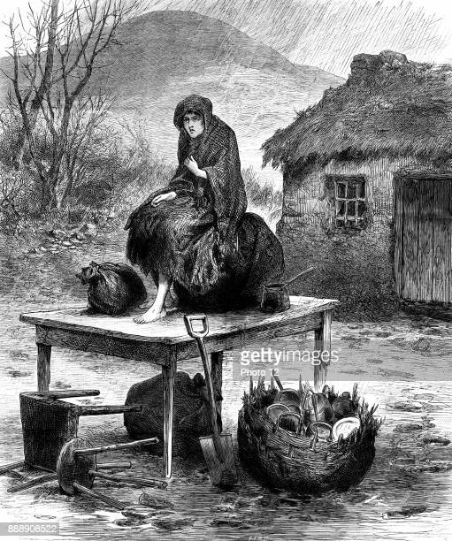 "Potato Famine, Irish peasant girl guarding the family's last few possessions after eviction for non-payment of rent. From ""The Illustrated London..."