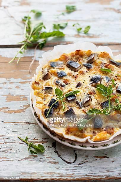Potato, herring, onion and egg omelette