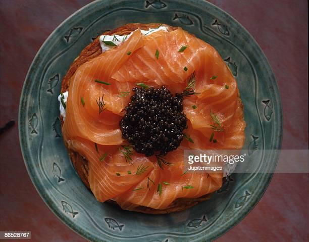 Potato pancake with smoked salmon and caviar