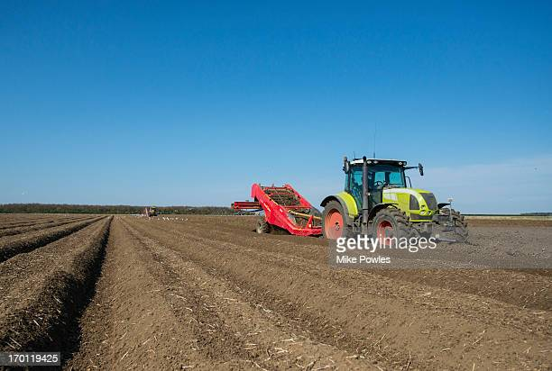 potato planting by machine, norfolk uk - agricultural machinery stock pictures, royalty-free photos & images