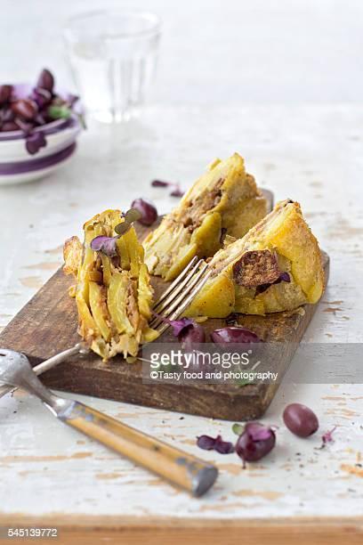 Potato tortilla made of potato, eggs and cheese