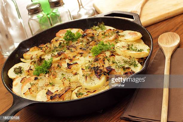 potatoes lyonnaise - prepared potato stock pictures, royalty-free photos & images