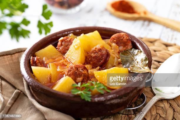 potatoes with chorizo stew, patatas a la riojana - madrid stock pictures, royalty-free photos & images