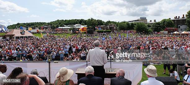 Potential Labour party leader Jeremy Corbyn speaks to crowds during the annual Durham Miners Gala on July 11 2015 in Durham England This is the 131st...