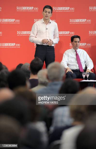 Potential new Leader of the Labour Party David Miliband speaks during the Yorkshire and Humber Labour hustings, in Leeds, on July 25, 2010. The five...