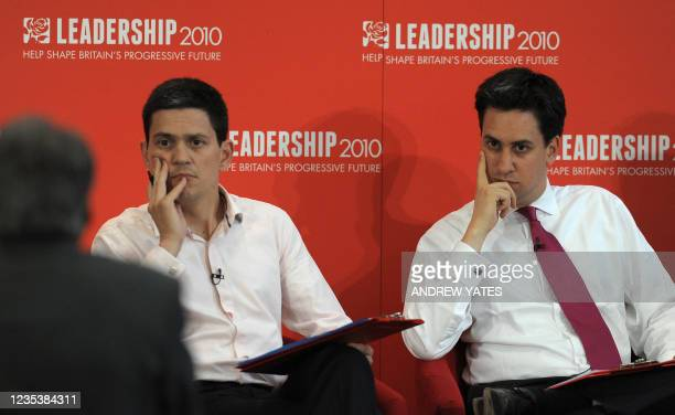 Potential new Leader of the Labour Party Ed Miliband listens along with brother David Miliband during the Yorkshire and Humber Labour hustings, in...