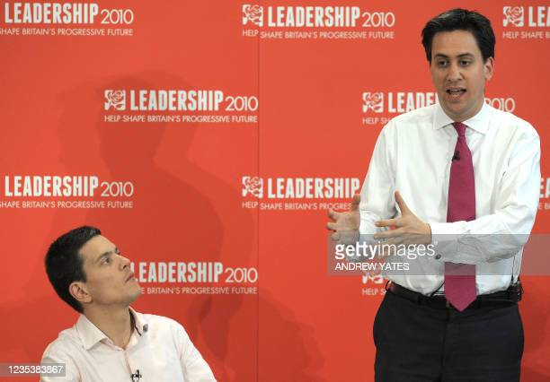 Potential new Leader of the Labour Party Ed Miliband speaks watched by his brother David Miliband during the Yorkshire and Humber Labour hustings, in...