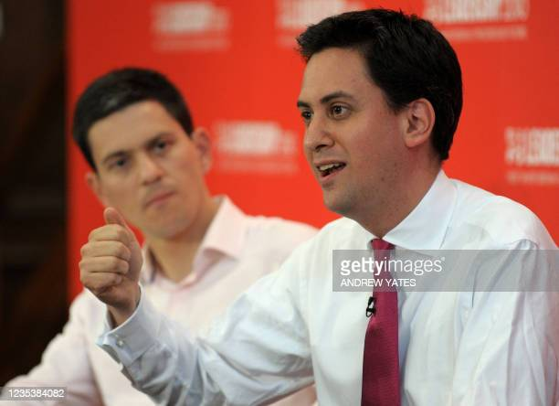 Potential new Leader of the Labour Party Ed Miliband speaks watched by brother David Miliband during the Yorkshire and Humber Labour hustings, in...