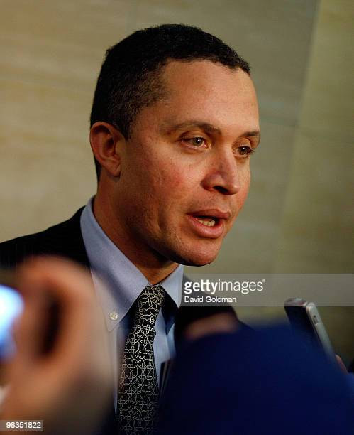 Potential US senatorial candidate for New York Harold Ford Jr holds a press conference after a a meeting at the offices of NARAL ProChoice February 2...