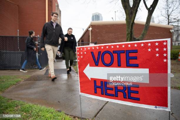 Potential voters arrives to cast a ballot at the Mt. Moriah Primitive Baptist Church polling station during the North Carolina primary on Super...