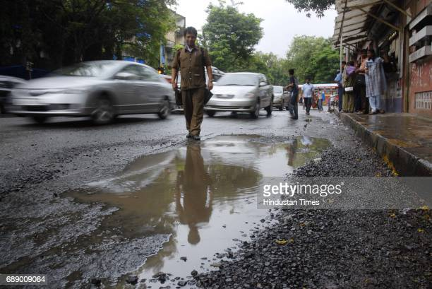 Pothole at Worli Bus Depot on PB Road which connects NM Joshi Road Lower Parel and Annie Besant Road Worli