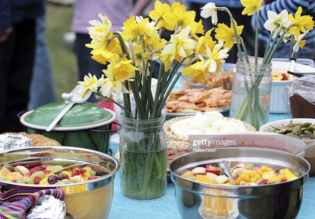 Potluck or Picnic in Spring : Stock Photo